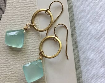 Gorgeous Aqua Blue Calcedony and 14k Gold Fill