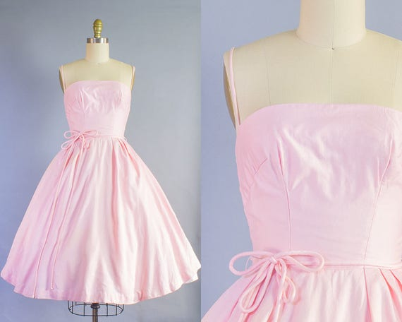 1950s Pink Cotton Sundress | Extra Small (32B/24W)
