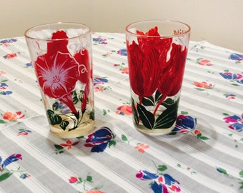 Vintage Drinking Glasses Jelly Glasses Set of 2 Red Flowers Retro Farmhouse