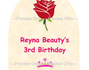 Beauty and the Beast birthday party favor tag, Customization available, Digital, Print your own.