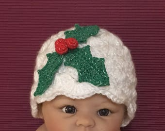 Littlebits Baby Crocheted Christmas Beanie Red/White/Green Sparkle Yarn with Holly Leaves and Berries  -  Handcrafted & Sold in Australia