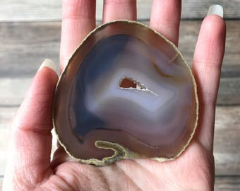 Natural Agate Slice FREE SHIPPING - Natural Earth Tone Mineral Specimen Rocks and Crystals - Agate Slice Supply Natural Geode Slice