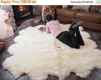 ON SALE Genuine Natural creamy white Sheepskin Rug, Pelt,  Giant Sheepskin throw Octo