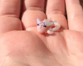 Shimmer, pink sleeping dragon with aventurine crystals and microbeads handmade by Allison Muldoon/A57art