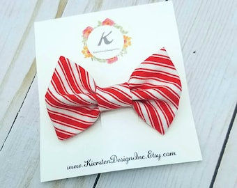 Candy cane hair bow - christmas bows - holiday bows - red striped bows - nylon headbands - baby girl headbands - baby hair clips - baby bows