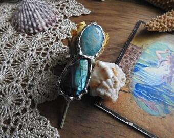 Amazonite & Labradorite Adjustable Ring // Sea shell // Mermaid // Boho // Gypsy // Hippie // Bohemian // Beach // Nature inspired Jewelry