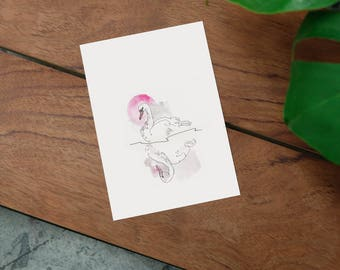 "Print ""Pink Swan"" din A5"