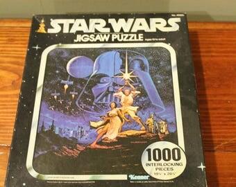 Vintage Star Wars Puzzle 1000 Piece 1977 Hildebrandt Art by Kenner