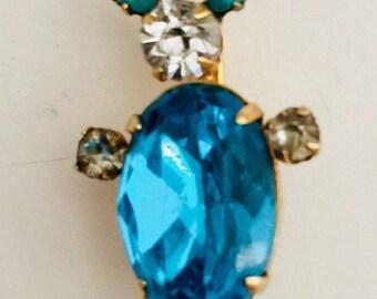 1960's Foiled Backed Aquamarine w/ Rhinestones Rabbit Pin
