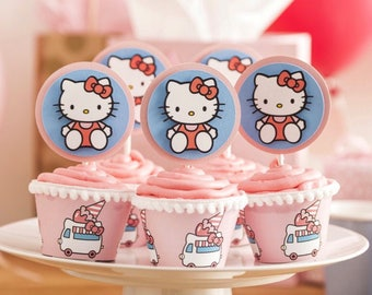 Hello Kitty Cupcake Toppers - Hello Kitty Decor - Hello Kitty Birthday - Hello Kitty - Hello Kitty Cupcake Wrappers - Hello Kitty Party