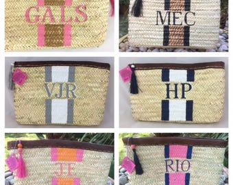 MONOGRAM Stripe Straw Clutch Bag, Personalise with your initials for free