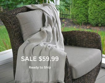 "SALE! Soft Linen Blanket/Throw 53"" x 70"" (140cm x 178cm) Natural, Undyed, Organic Linen Flax, Bed Scarf, Beach Blanket, Ready to Ship"