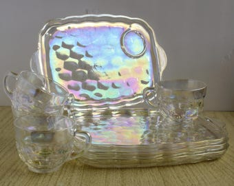 Indiana Glass Iridescent Snack Tray, Federal Glass Indiana Set of 4 Mid Century
