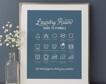 Laundry Symbols Print, Rustic Laundry Room, Laundry Guide, Laundry Instructions, Blue Laundry Room Art