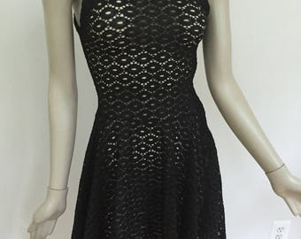 Black Lace Flared Dress with Cotton Lining Slip. Little Black Dress. Form Fitting Black Lace Flared Dress. Made to Measure.