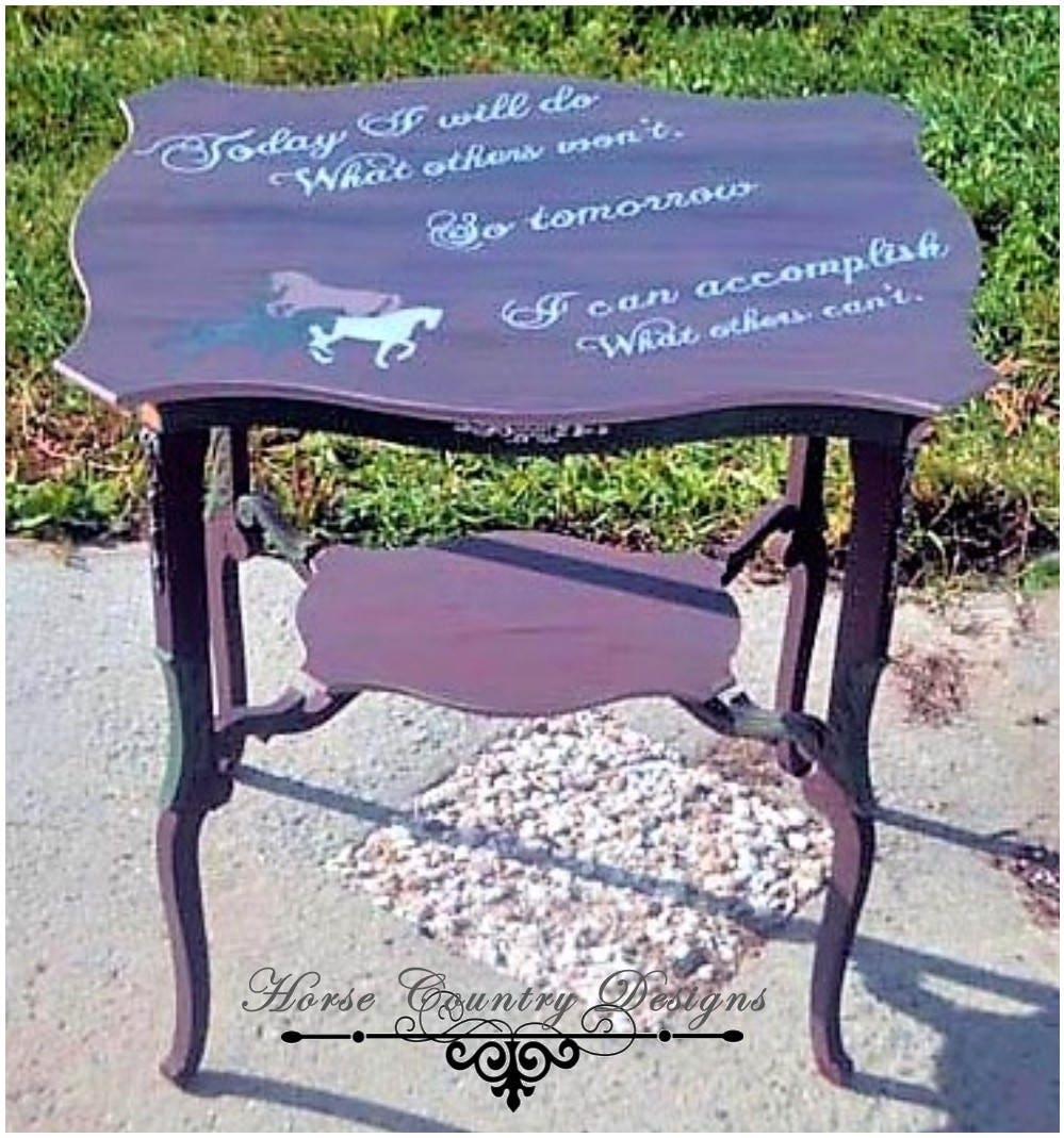 Vintage accent foyer hall table equestrian horse sentiment for Table 85 address
