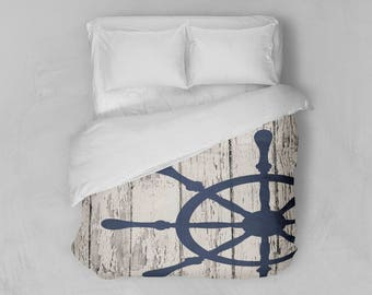 Nautical Wheel Duvet Cover - Nautical Bedding - Modern Duvet Cover
