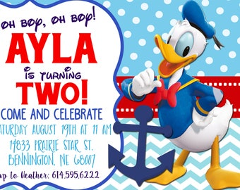 Donald Duck birthday invitation