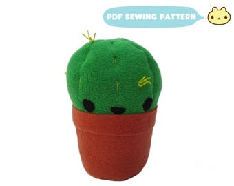 Cactus Toy Plush Pattern, DIY Succulent, Plush Cactus Toy, PDF Sewing Pattern, Stuffed Cactus Sewing, Succulent Plush Toy, Plushie Plant Toy