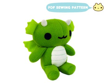 Chibi Plush Dragon Pattern, Dragon Toy Sewing Pattern, Goth Plush Toy, Instant Sewing Pattern, Toy Dragon Pattern, Stuffed Dragon PDF