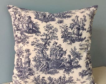 Blue toile throw pillow. French country throw pillow. Waverly Country Life. Cottage chic pillow cover. Blue and white decorator sofa pillow.
