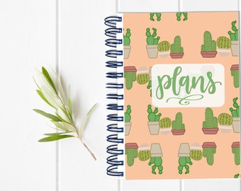 Small Undated Inspirational Motivational Planner - One Year Fill in Calendar Planner - Weekly Planbook - Monthly Cactus Notebook Schedule