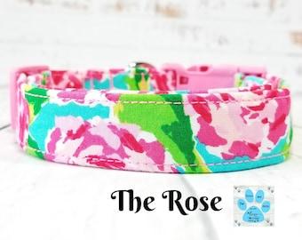 Lilly Dog Collar Roses, Rose Dog Collar, Lilly Pulitzer Dog, Girl Dog Collar, Preppy Dog Collar, Lilly Inspired Dog, Adjustable Dog Collar
