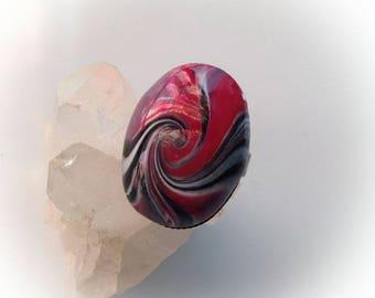 Ring, oval, raspberry, polymer, swirl