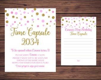 Time Capsule Sign and Card, First Birthday Time Capsule, Baby's Time Capsule Pink and Gold Confetti PDF Printable