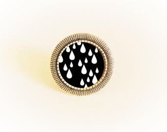 Adjustable silver ring and pendant black/white water drops