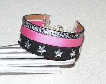 Stars black python/pink/gray leather Cuff Bracelet