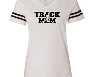 Track Mom D61 LAT - Women's Football V-Neck Fine Jersey Tee - 3537