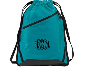 Monogram Drawstring Bag. Monogram Port Authority® Zip-It Cinch Pack. SM- BG616.