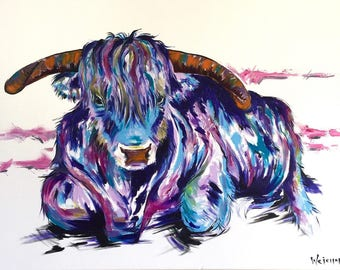 Cow Painting | Art by Aidan Weichard | Original Painting on Canvas | Abstract Animal Art |  'CHASE' 76 x 101cm | Modern Wall Art