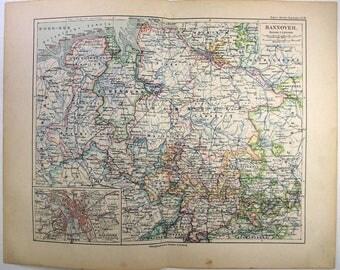 Original 1892 Map of Hanover, Germany by Meyers. Hannover. Antique Original