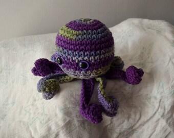 Crocheted Amigurumi Purple and Green Octopus (Violet)