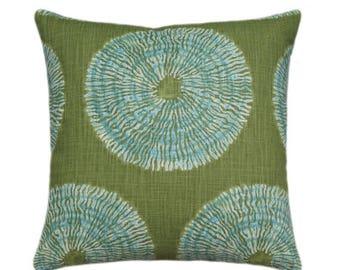 SALE Robert Allen Pillow, Green Medallion Pillow, Seaglass Green Bohemian Pillow, Accent Pillow Cover, Decorative Throw Pillow Cover, Shibor