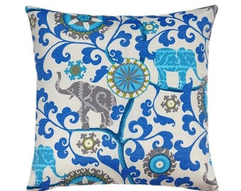 SALE Blue Outdoor Pillows, Blue Outdoor Cushions, Floral Outdoor Pillow Covers, Menagerie Sapphire Decorative Pillows, Blue Outdoor Cushion