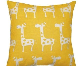 SALE Yellow Giraffe Pillow, Giraffe Print Pillowcase, Corn Yellow Throw Pillow, Animal Print Pillow, Nursery Kids Room Decor, Stretch Yellow