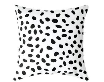 """SALE Spotted Black and White Decorative, Pillow Cover 20"""", Accent Throw Cushion, Polka Dots Spots Animal Print, Togo Black and White Dalmati"""