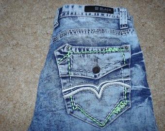 CJ Black Premium, Blue Jeans, Green Stitching, Mens CJ Jeans, Gift For Him, Vintage, CJ Brand Jeans, Used Jeans, Size 34, 32 Length Jeans