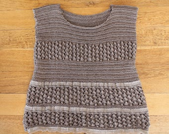 knit top, women, Openwork, Brown, cotton, hand knitted