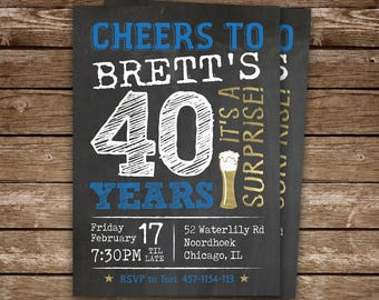 Surprise Party 40th Birthday Invitation for Man, Cheers to 40 Years, Printable Surprise Party Invitation, 40th, 50th, 60th, 70th