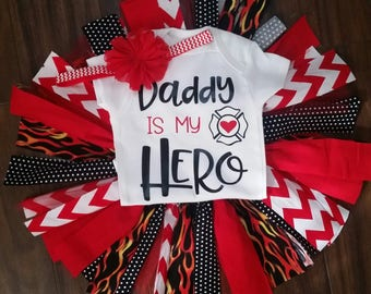 Daddy is my Hero firefighter tutu set