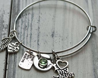 I Love My Soldier Wire Adjustable Bangle Bracelet