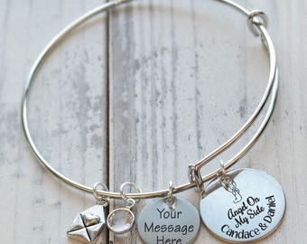 Angel on My Side Memorial Wire Adjustable Bangle Bracelet