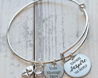Teachers Inspire the World Personalized Adjustable Wire Bangle Bracelet