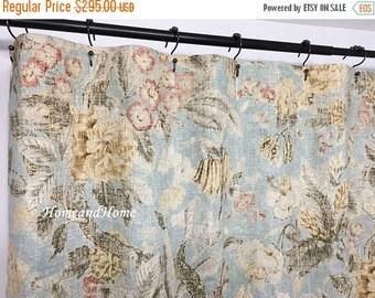 SALE Shower curtain Waverly floral linen shower curtain fabric shower curtain 72 x 72 72 x 74
