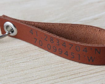 Leather Coordinate Keychain,Latitude Longitude Keychain,Engraved Keychain For him,GPS Leather Keychain,Coordinate Keychain,Father's day Gift