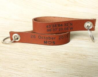 Customized Latitude and Longitude Leather Keychain,Personalized Name Initial Letter Keychain,Engraved Leather Key Chain,Monogram Key Ring
